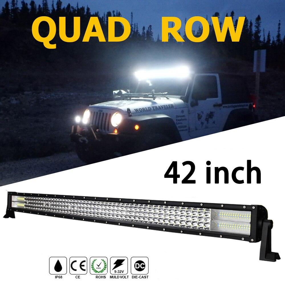 Quad ряд 42 Led бар 744 Вт светодиодный чип 8D 74400Lm 12 В Водонепроницаемый вождение автомобиля светодиодные полосы для 4X4 Off Road Лада Нива УАЗ джип Фор