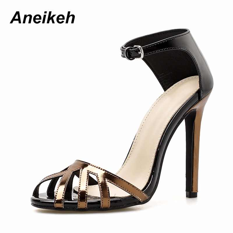 e247eda7053 Aneikeh High Heels Sandals Women Rome Style Shoes Woman Gladiator Sandalias  Mujer 2018 Stiletto Peep Toe