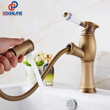 SOGNARE Pull Out Basin Faucet Antique Brass Retro Bathroom Basin Sink Faucet Cold Hot Water Copper Basin Taps Water Torneira