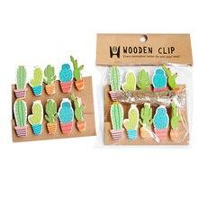 10 шт/лот kawaii Кактус деревянные зажимы мини фото бумага ремесло