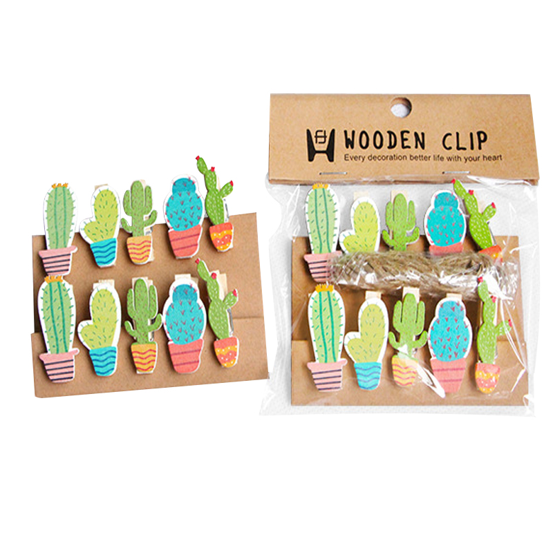 10pcs/lot Kawaii Cactus Wooden Clips Mini Photo Paper Craft Clip School Decoration Stationery With Hemp Rope Christmas Gift