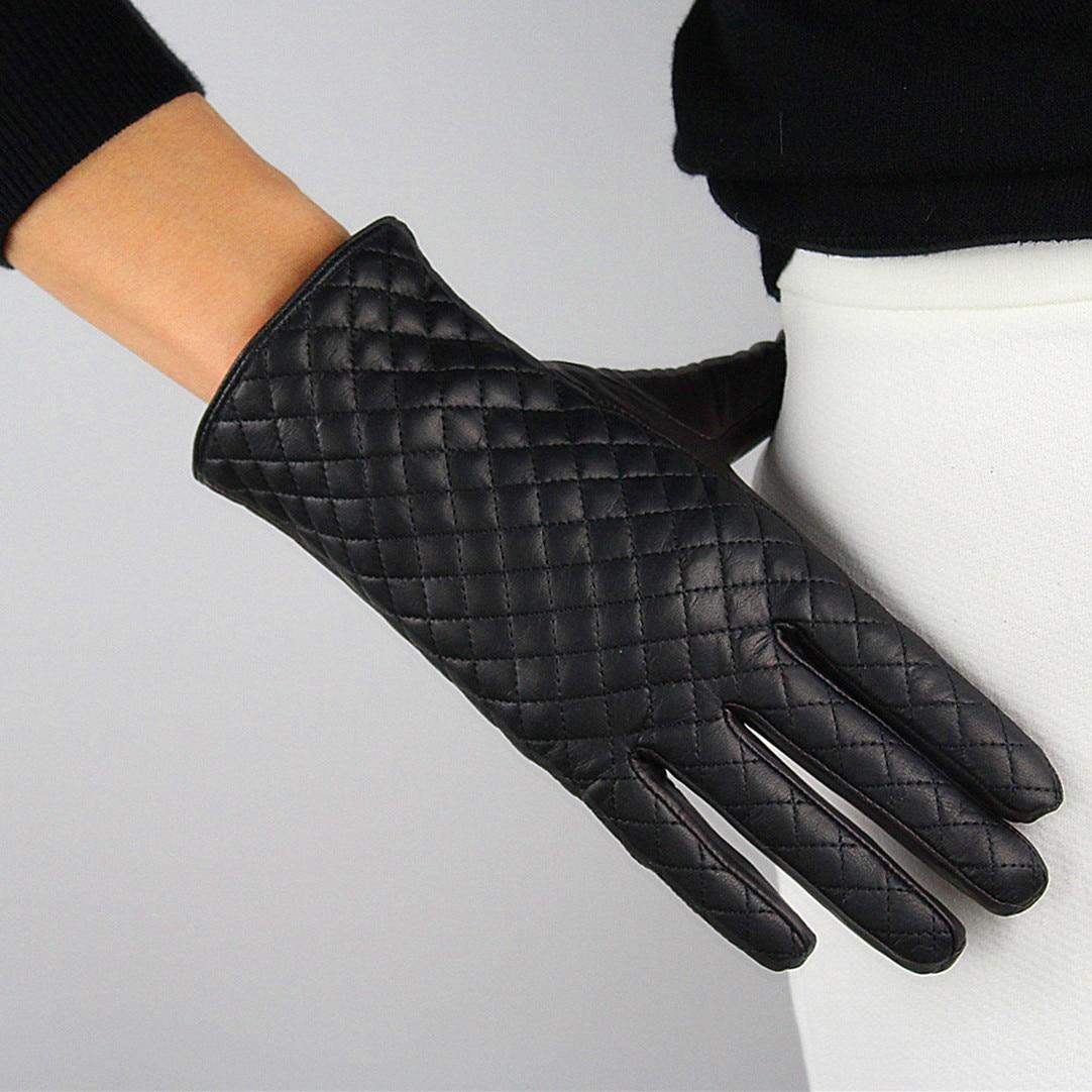 Womens black leather gloves medium - 2016 New Fashion Gloves Genuine Pure Sheepskin Leather Black Plaid Medium Long Basic Velvet Lining