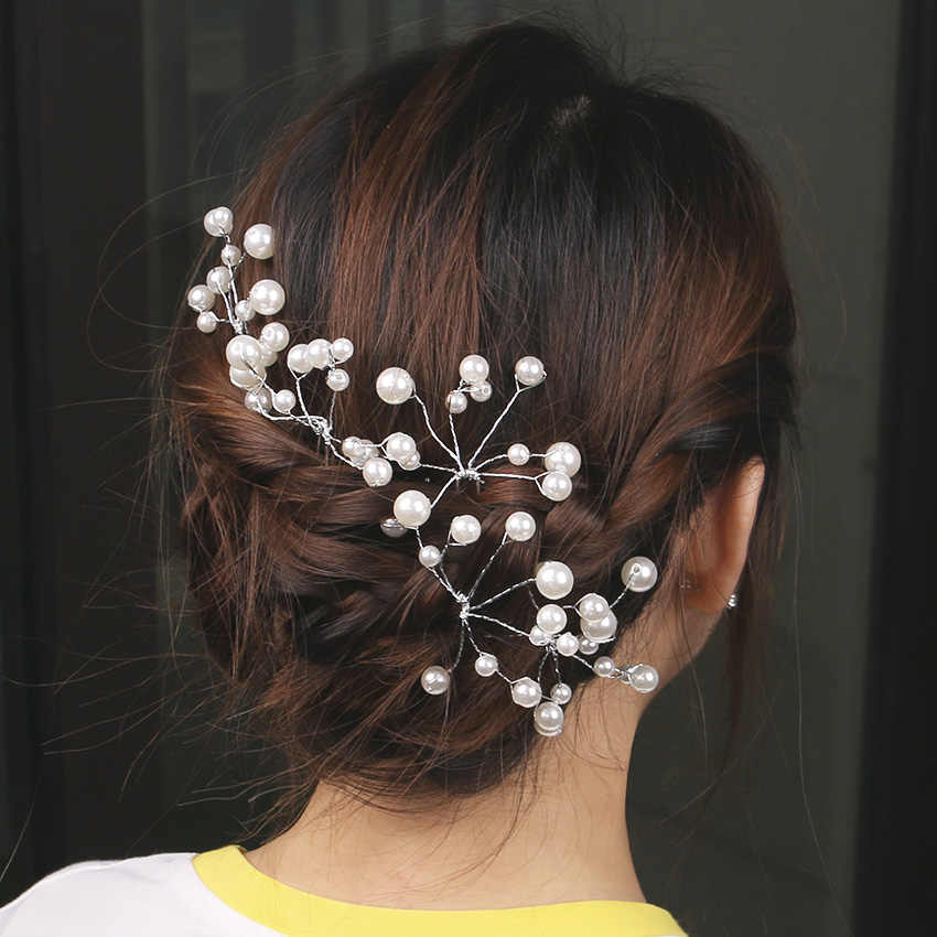 1 PC New Fashion Bridal Hair Accessories Pearl Beaded Crystal Hairpin Flower Women Wedding Hair Pins Jewelry Accessories
