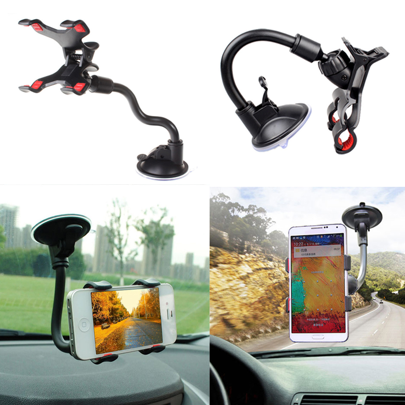 Hot Universal Phone holder for Iphone 6 7 Samsung 360 Degree Flexible Car Mount Stand Holder for 3.2-6 Inch cellPhone GPS