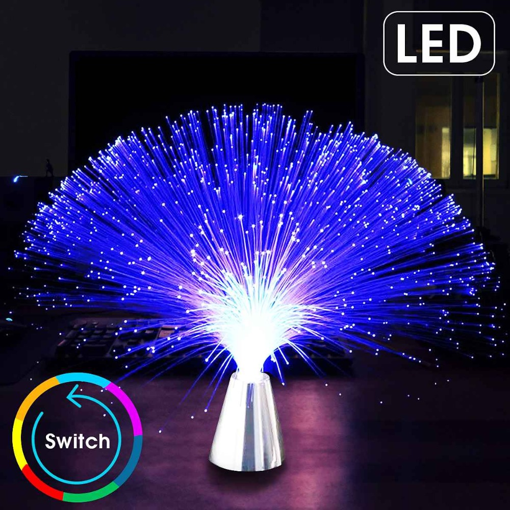 CLAITE Multicolor LED Optic Fiber Light Stand Night Light Lamp For Interior Decoration Centerpiece Children Holiday Wedding Gift(China)