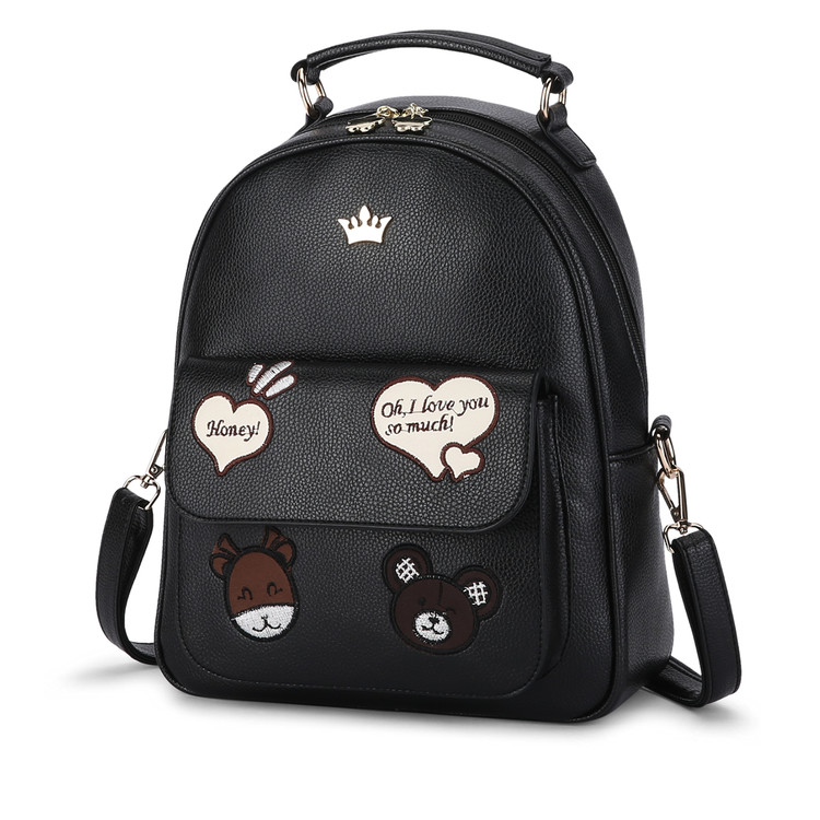 2017 New Preppy Style Cute Girls School Backpack Cartoon Bear girl Embroidery Backpack For Teenage Girls