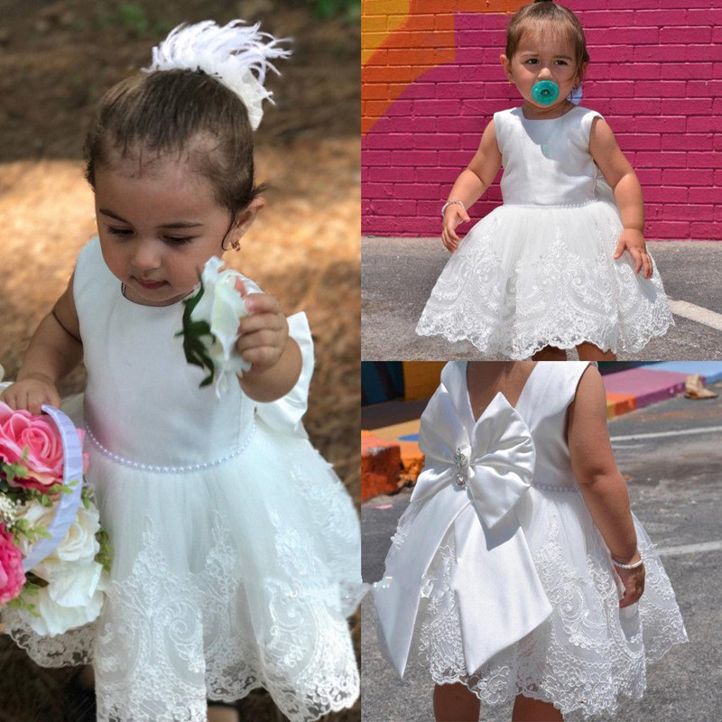 New Coming Lovely   Flower     Girl     Dress   with Pearl Belt Lace Appliques Bow V-Back Knee-Length Princess   Dress   For Baptism Custom Made