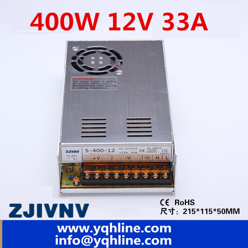 Hot sales 2 year warranty 400W switching power supply 12VDC 33A, input 110/220vac SMPS, for industry, led light strip S-400-12Hot sales 2 year warranty 400W switching power supply 12VDC 33A, input 110/220vac SMPS, for industry, led light strip S-400-12