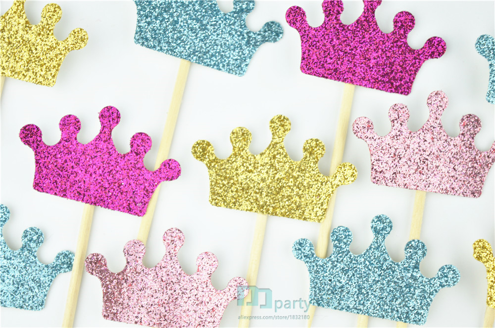 Crown Cupcake Toppers, Glitter Crowns, Princess Party Decorations, Prince  Birthday, Pink And Gold, Custom Colors, Baby Shower