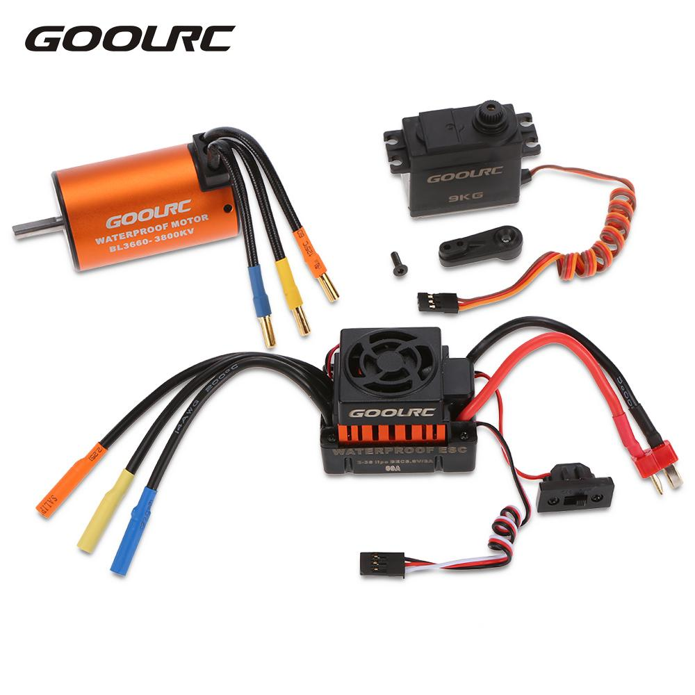 GoolRC RC Cars Toy Motors 3660 3800KV Brushless Motor 60A ESC Electricity 9kg Metal Gear Servo Combo Set for RC Car 1:10 Model goolrc rc cars motor 540 55t carbon brushed motor 60a esc combo 1 10 axial scx10 rc4wd d90 rc crawler climbing car model part