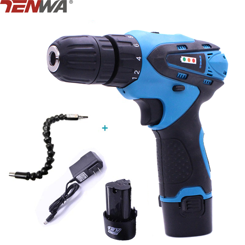 TENWA 12V 2 Speed Cordless Drill Electric Screwdriver Sets Household Power Tool Rechargable Li-ion Battery Tool Sets With Shaft urijk 1set best quality multifunctional electric drill impact drill household electric woodworking hardware hand tool sets