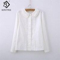2015 Fashion Female Cotton White Blouses Peter Pan Collar Casual Shirt Ladies Tops School Blouse Women