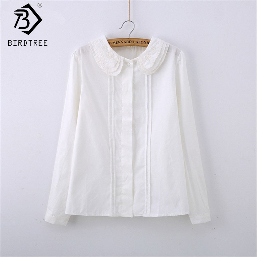 Fashion Female Cotton White Blouses Peter Pan Collar Casual Shirt Ladies Tops School Work Blouse Women Plus Size S-XXL T58348