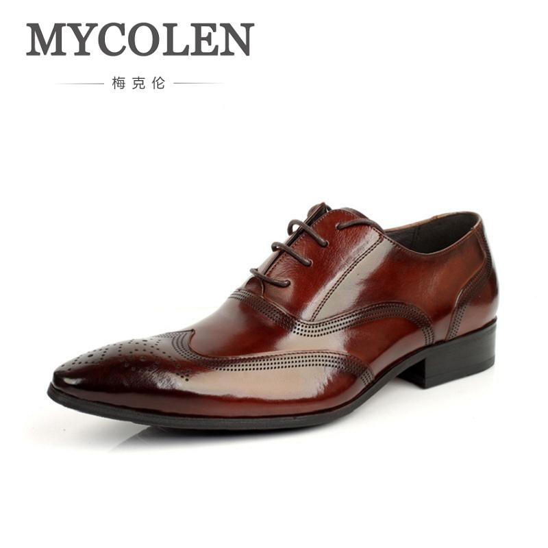 MYCOLEN New Fashion Men Dress Shoes Leather Pointed Toe Male Durable Bullock Carve Business Shoes Lace-Up Men Office Shoes new 2018 fashion men dress shoes black leather pointed toe male business shoes lace up men falt office shoes yj b0035