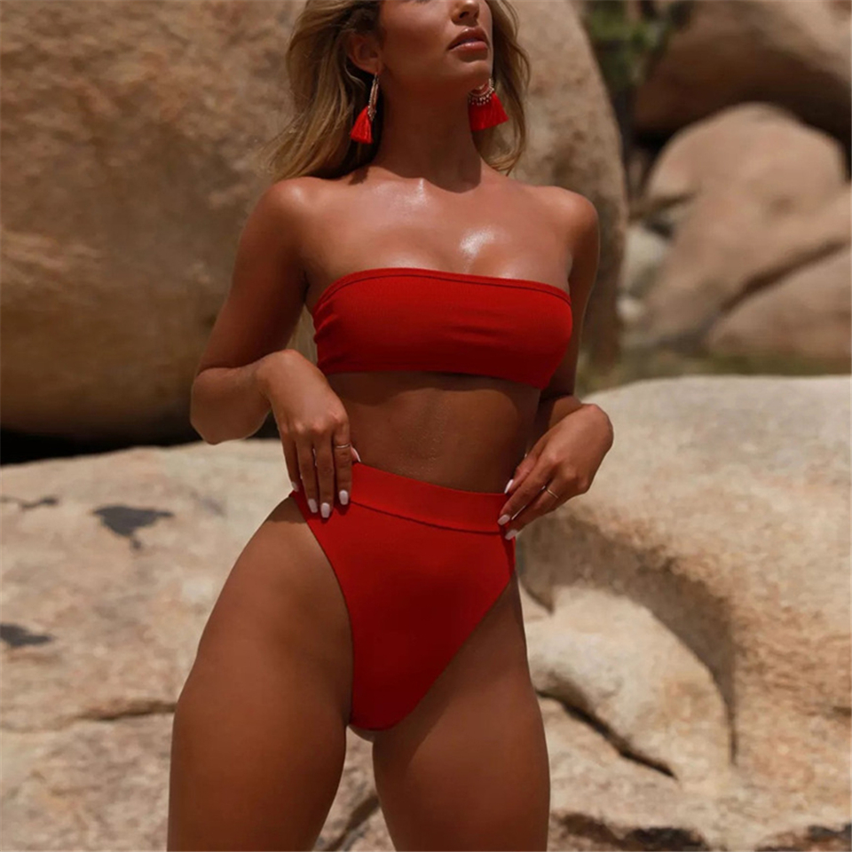 2019 Retro Sexy Solid Bandeau High Waist Seamless Cut Biquini Swim Bathing Suit Swimsuit Swimwear Women Brazilian Bikini