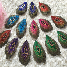 SASKIA 30P Sequin Peacock Feather Applique Clothes Embroidery Patch Fabric Sticker Iron On Sewing Patches Craft Embroidered Diy