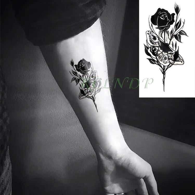 Etanche Autocollant De Tatouage Temporaire Rose Fleur Patte Faux