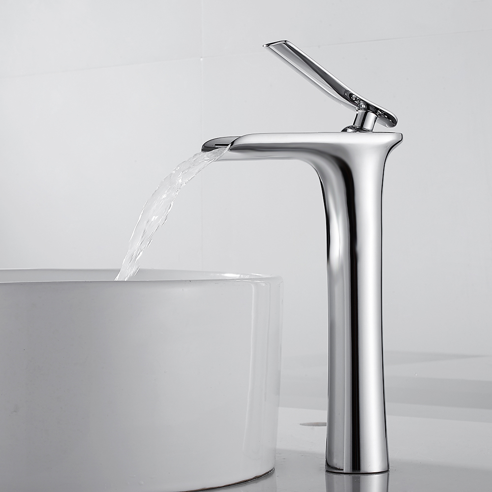 Waterfall Basin Faucet Counter Top Basin Mixer Tap Bathroom Sink Taps Tall Chrome Faucet Deck Mounted