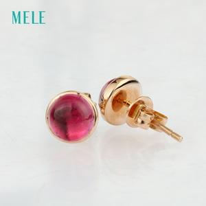 Image 3 - Серьги из розового золота Natutal rubellite, круглые 6 мм * 6 мм, розовое золото 18 карат, огранка кабошоном, красивый цвет