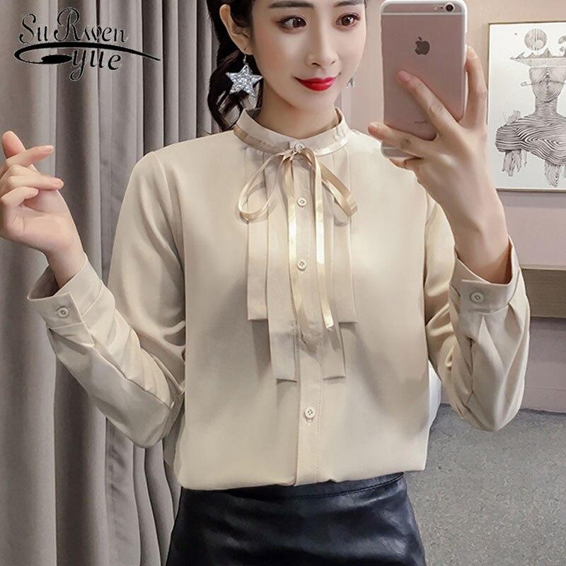2e015608270 Шифоновая Блузка 2019 г. женские новые модные рубашки с длинным рукавом  Повседневные женские топы и