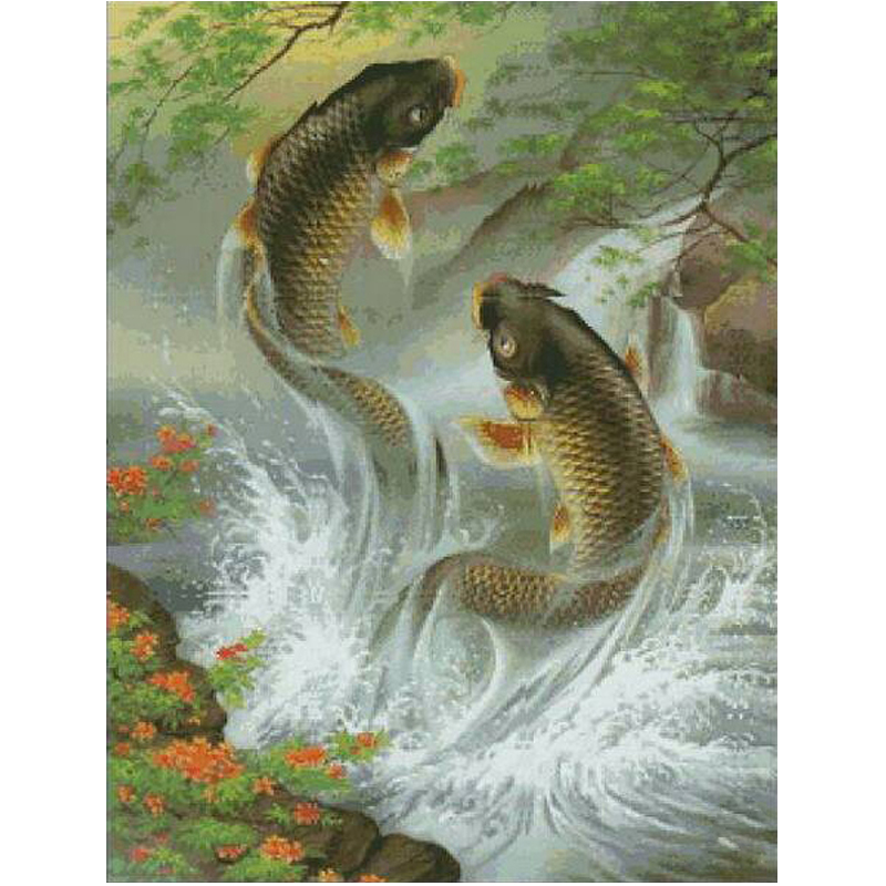 ΞComo pez en el agua diamante pintura dos peces nueva pintura ...