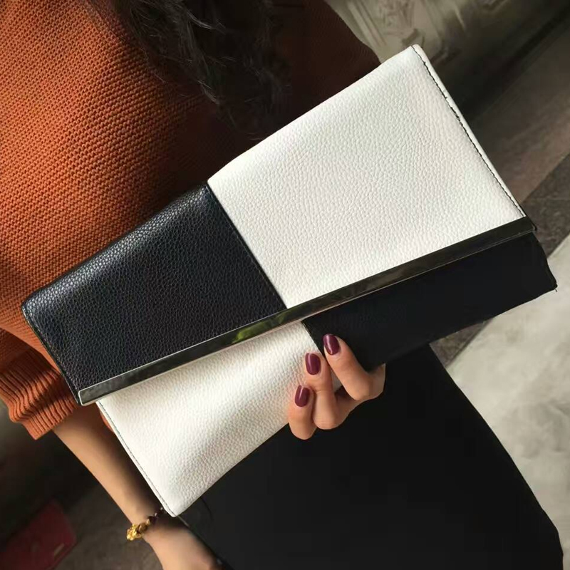 2017 Fight Color PU Leather Summer Womens Clutch Bags Chain Black and White Large Capacity Envelope Bag Women Party Evening Bag