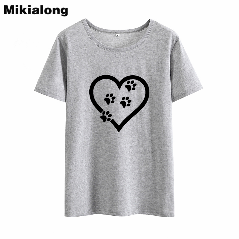 Mikialong Cat Love Graphic T Shirts Women 2018 Summer Tee Shirt Femme Black White Tshirts Cotton Women Kawaii T-shirt Women