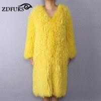 ZDFURS * женская шуба из овечьей шерсти, пальто из овечьей шерсти, короткая куртка из овечьей кожи, вязаное пальто из овечьей шерсти