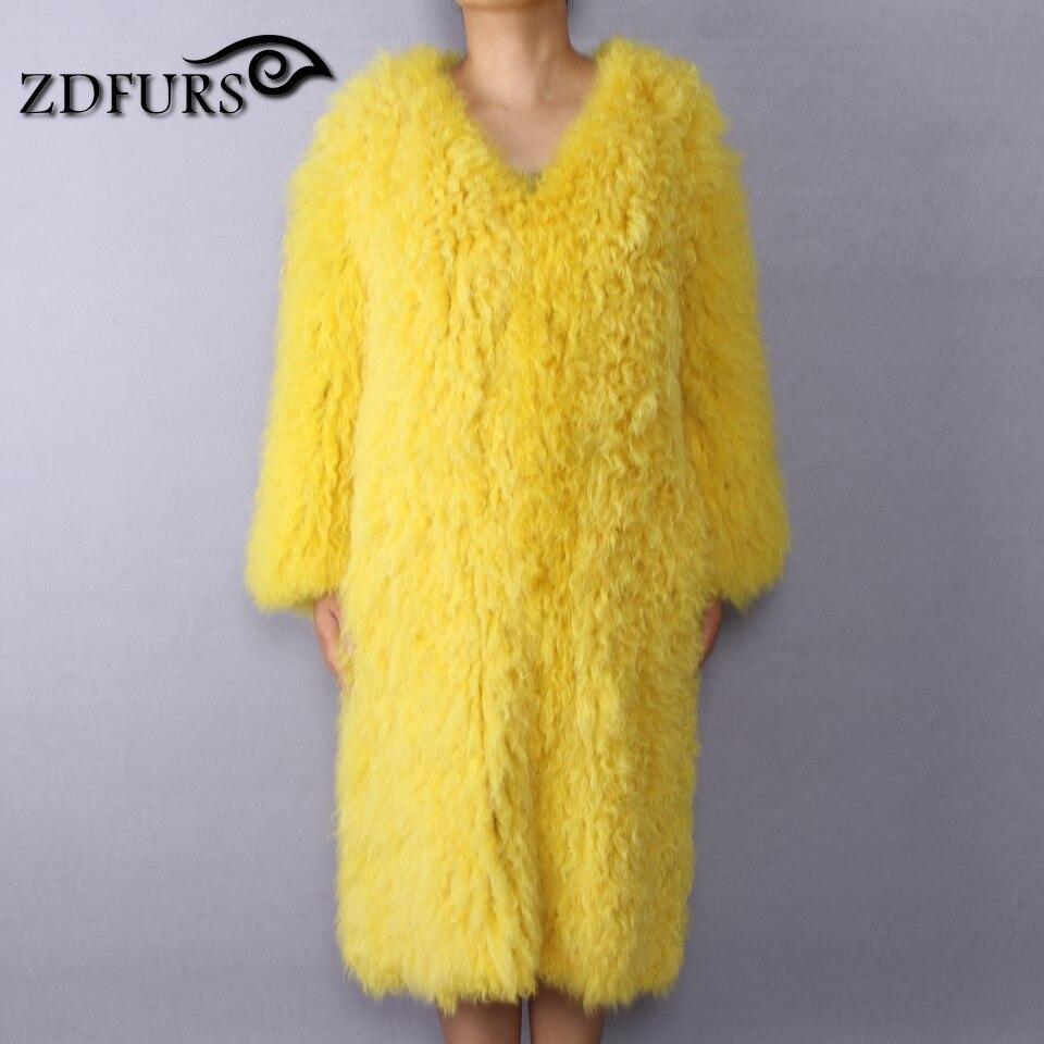 ZDFURS * женская шуба из овечьей шерсти желтовато коричневая овца шуба короткая куртка из овечьей кожи вязаная монгольская шуба из овечьей шерсти