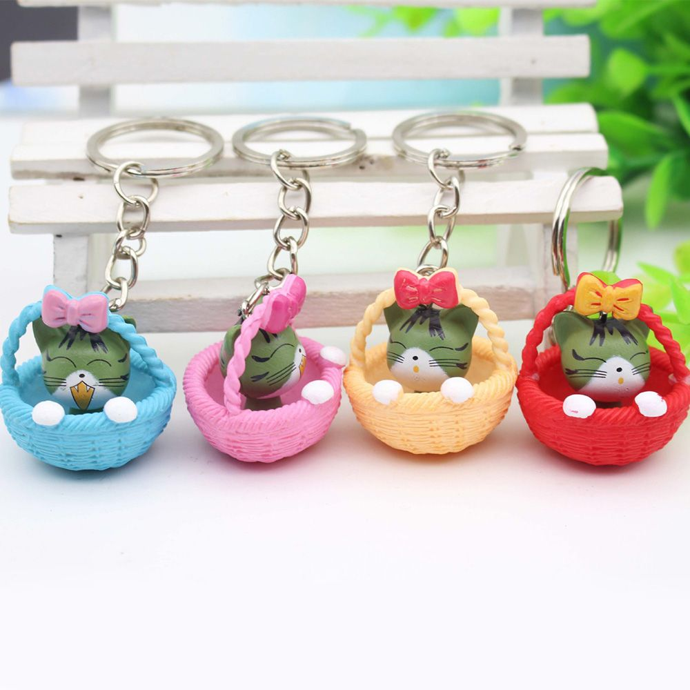 Wholesale Random Mixed Color Cartoon Cute Basket and Cat Key Rings Chain Pendant Ornament For bag car Keychain Hot Selling Gift