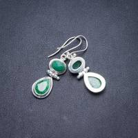 Natural Emerald Handmade Unique 925 Sterling Silver Earrings 1.5 Y2479