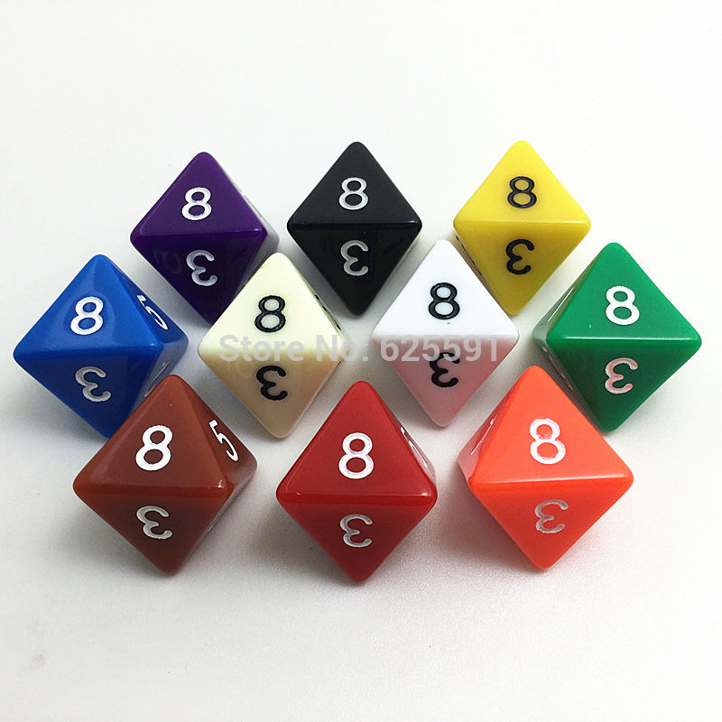10pcs/set T&G High Quality Colorful D8 Dice Set Opaque Effect,d&d 8 Side Digital Number 1-8 For Rpg Game