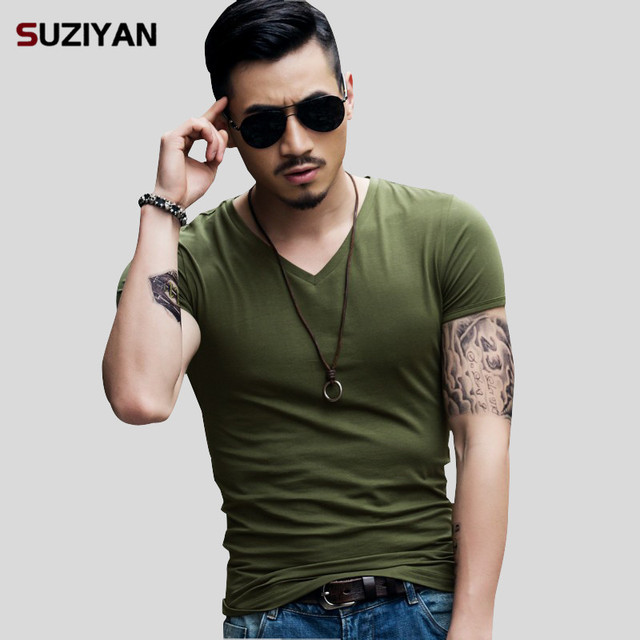 Mens V-Neck Men T Shirt Short Sleeve New Brand 2019 T-Shirt Elastic Male TShirt Comfortable Soft Breathable Man Tees Big Size