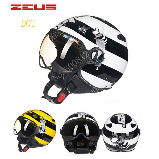 DOT BLACK WHITE Bee ZEUS ZS-210c 3/4 open face motorcycle helmet with Lining unpick and wash, motorbike helmets chepe комплект на выписку chepe серебряная роса 91619