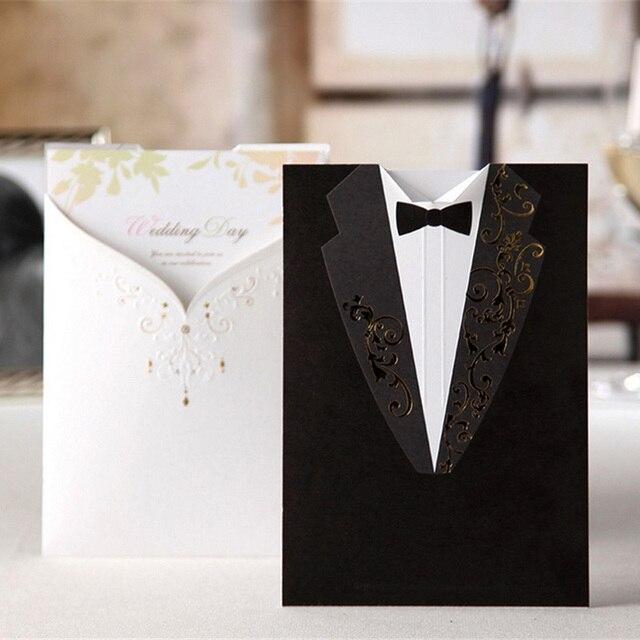 50pcs laser cut wedding invitations card elegant groom and bride