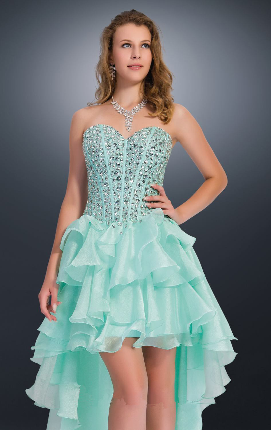Hot Fashion Crystal Rhinestone Prom Dresses Mint Green Short Front ...