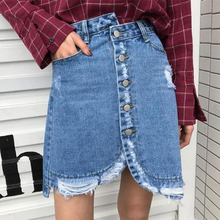 2017 summer jeans midi skirt jupe new Korean women's high waist asymmetrical hole Breasted cowboy half skirt free delivery A1000