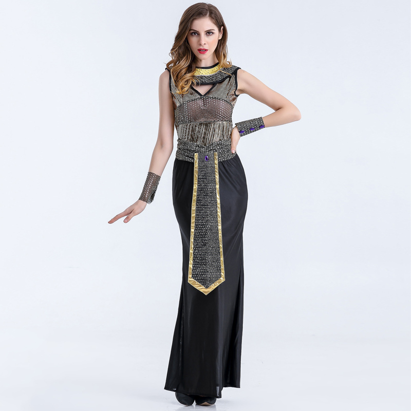 Adult Egyptian Pharaoh Queen Cleopatra Fancy Dress Halloween Ancient Egypt Goddess Of The Nile Costume