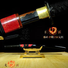 Katana Samurai Japanese Sword Red T10 Carbon Steel Clay Tempered Blade Sharp цена