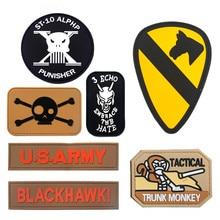 Military Tactical Armband PVC USARMY BLACKHAWK Letter Rubber Morale Patch Hat Badge Hook Brassard Emblem DIY For Bag Backpack