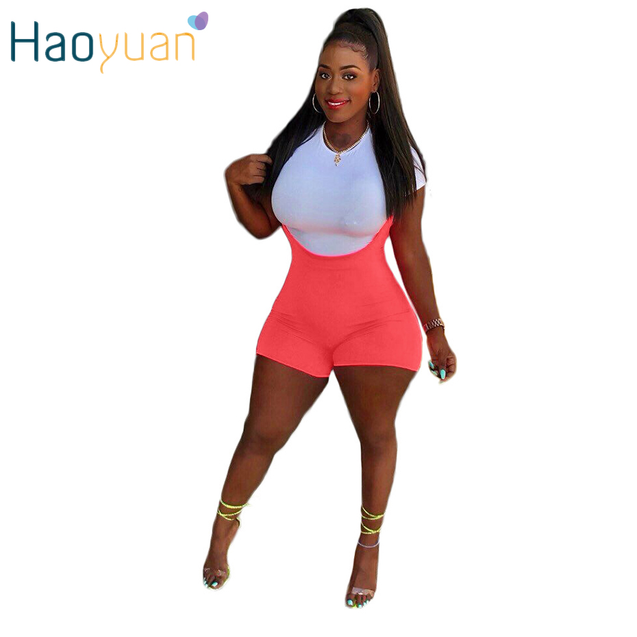 HAOYUAN Two Piece Sets Women Clothes White T-shirt Top And Pink Playsuit Shorts Set 2 Piece Outfit Sexy Club Party Matching Sets