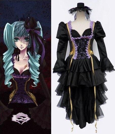Doujin Sex Schwarz Cosplay Vocaloid Kleider Plus Mädchen Miku Anime fYbyg76