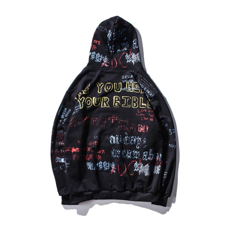 Hip Hop Graffiti Hoodies Herren 2019 Neue Herbst/winter Casual Pullover Sweats Hoodie Männliche/weibliche Mode Skateboards Sweatshirts Herrenbekleidung & Zubehör