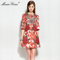 MoaaYina Fashion Designer Runway Summer Dress Women Half Sleeve Floral Embroidery Print Jacquard Short Elegant Dress