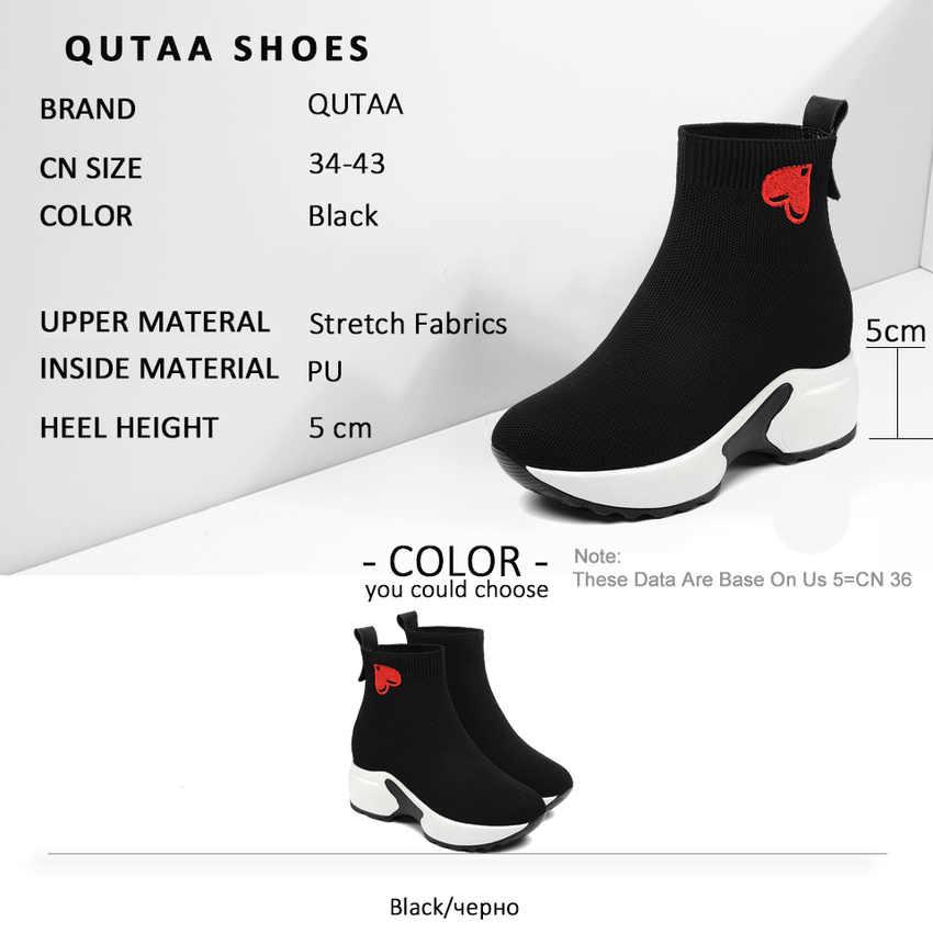 QUTAA 2020 konfor kalın alt sonbahar kış kadın ayakkabı yuvarlak ayak yüksekliği artan kalp şeklinde çorap yarım çizmeler boyutu 34 -43