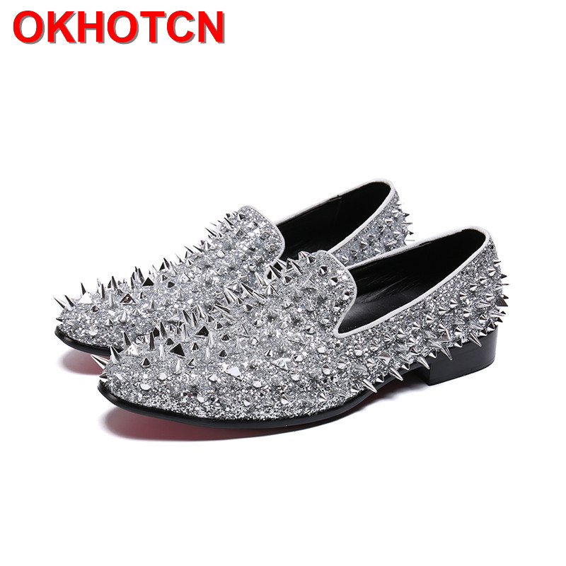 Bling Bling Silver Blue Spike Shoes Men Rivets Silp On Party Shoes Leather Wide Shoes Fashion Designer New Mens Large Size Shoes