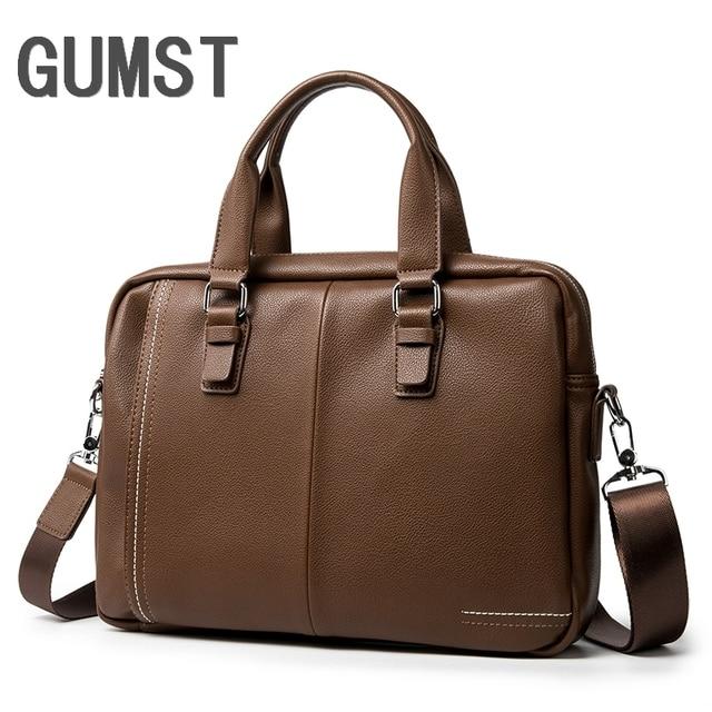 GUMST Leather Men Briefcase Man Bags Business Laptop Tote Bag Men's Crossbody Shoulder Bag Men's Travel Bags