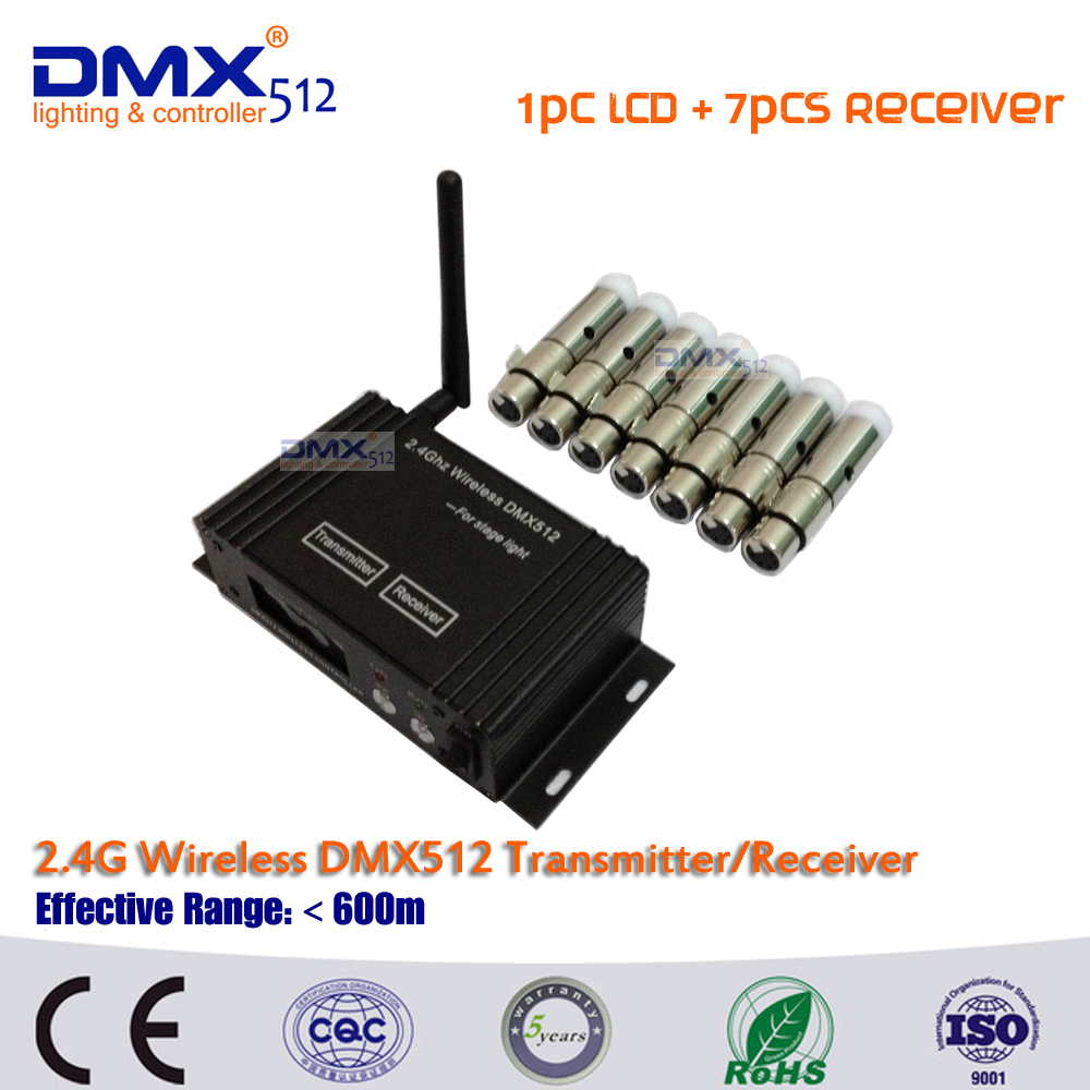 ФОТО DHL Free Shipping DMX512 wireless 1pcs LCD Display cable transceiver+7pcs mini receiver 2.4GHz XLR in stage Lightning effect