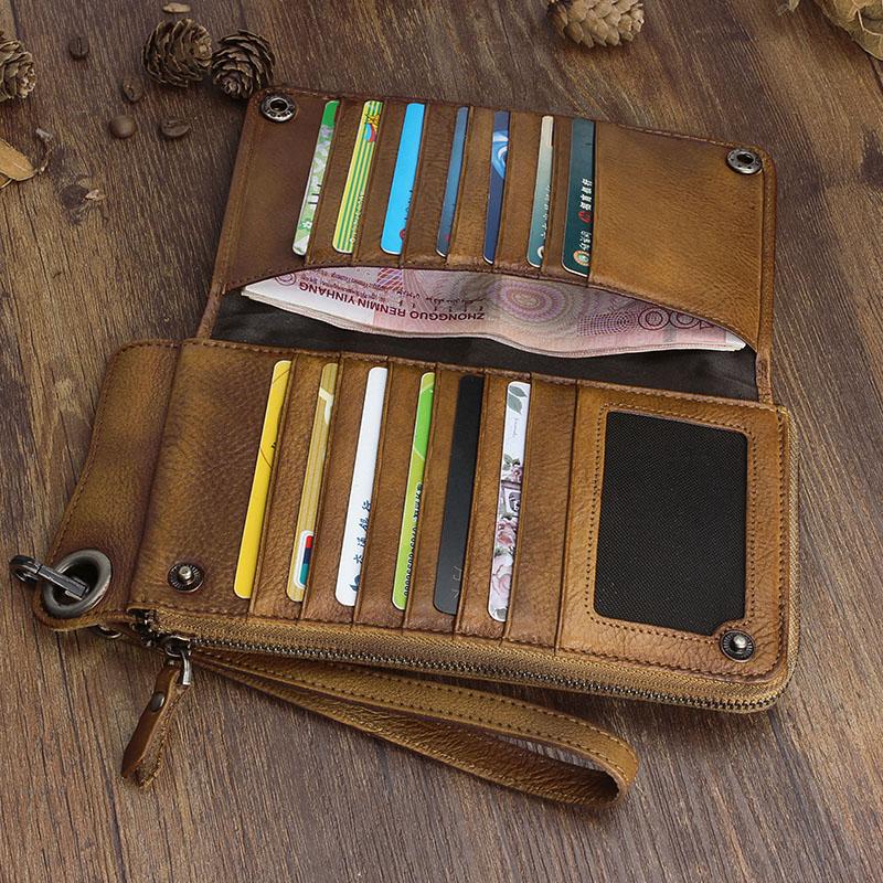 Bagaj ve Çantalar'ten Cüzdanlar'de AETOO El Yapımı deri cüzdan uzun cüzdan retro erkekler el çantası deri büyük kapasiteli fermuarlı telefon çanta düzenleyici Vintage'da  Grup 3