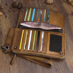 Image 3 - Carteira aetoo artesanal de couro, longa, masculina, retrô, de mão, grande capacidade, com zíper, organizador de telefone, vintage